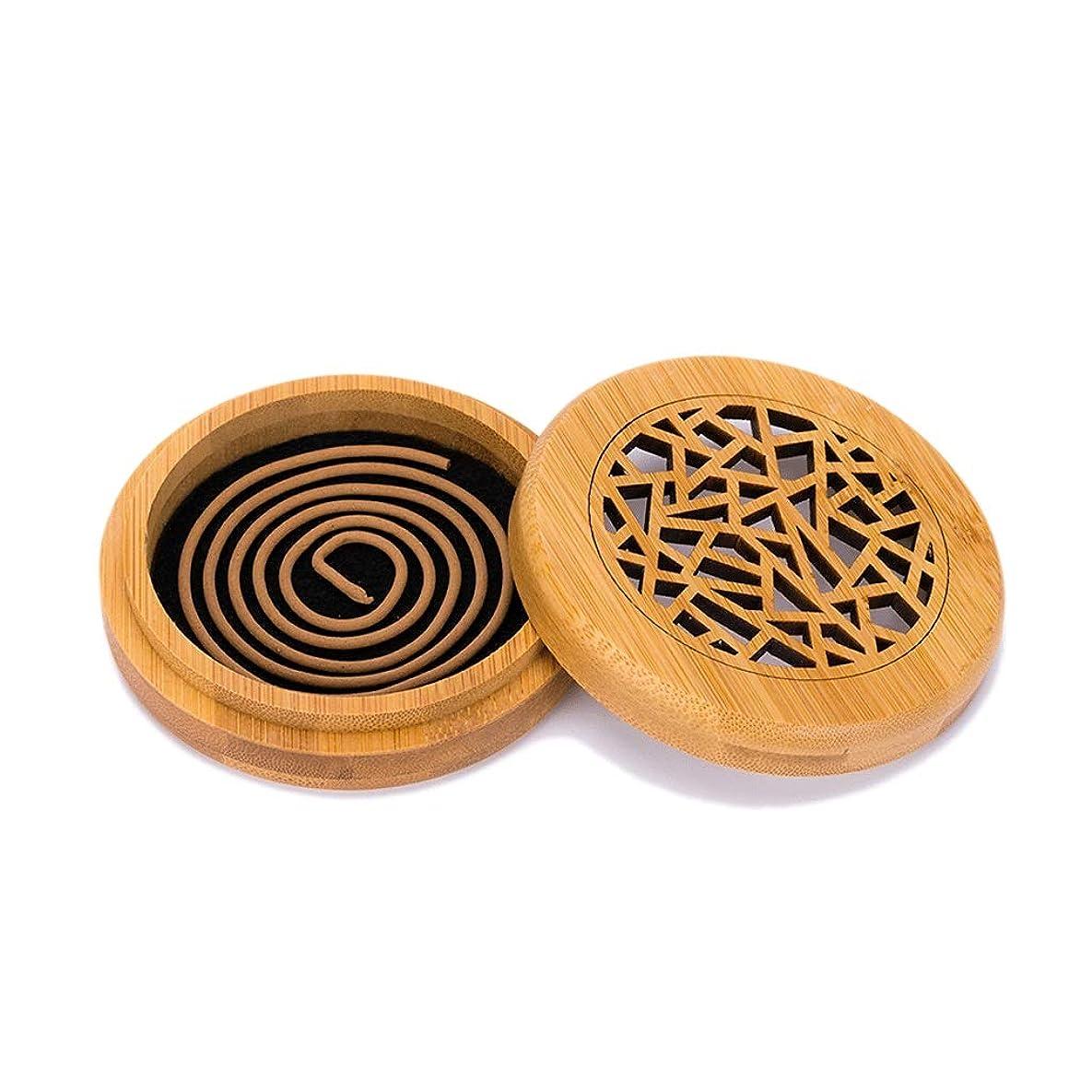 あまりにも黄ばむあえぎ竹の香バーナーコイルの香バーナー部屋の装飾瞑想竹の香り天然素材香ホルダー (Color : WOOD, サイズ : Round)