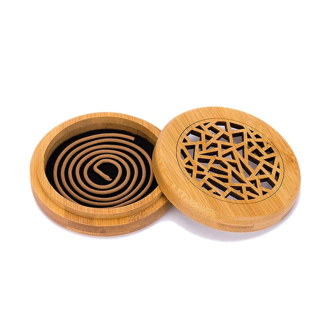 傾向ネスト比率竹の香バーナーコイルの香バーナー部屋の装飾瞑想竹の香り天然素材香ホルダー (Color : WOOD, サイズ : Round)
