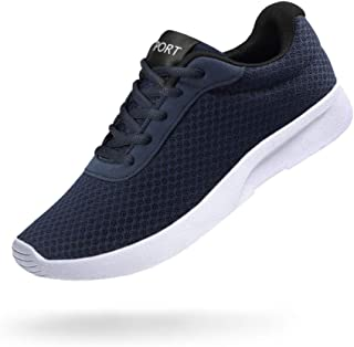 Men's Running Shoes Athletic Sneakers Casual Mesh Walking Shoes Lightweight Tennis Footwear for Men Comfortable Workout Trainer Breathable Road Running Sneakers Blue Size: 10