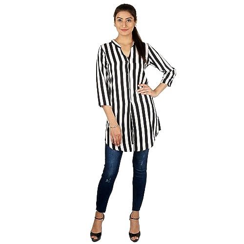AKRITI 1 Women s Crepe Regular Fit Long White and Black Stripes Polyester  Shirt (3  4cc579f0aeb