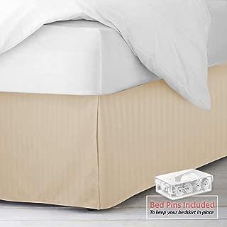"""Nestl Bedding Pleated Bed Skirt - Damask Dobby Stripe Bed Skirt - Luxury Microfiber Dust Ruffle - 14"""" Tailored Drop - Bonus Bed Skirt Pins Set of 8 Included - Full, Beige"""