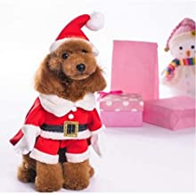 Delifur Dog Christmas Costumes with Hat Dog Santa Costume Dog Xmas Costume for Small Dog Cat Puppy 2XL Red