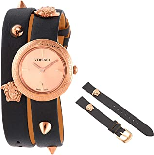 Versace Medusa Stud Icon Quartz Rose Gold Dial Ladies Watch VERF01018
