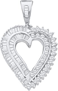 FB Jewels 14K White Gold Pear 4-Prong with Diamond Accent 4.5 x 2.5mm Pendant Setting