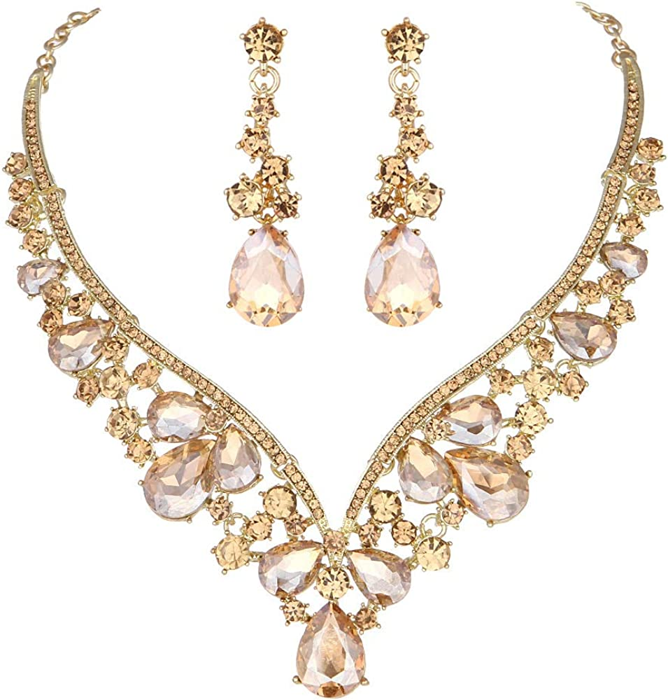 Youfir Rhinestone Crystal V-Shaped Bridal Wedding Necklace Earrings Jewelry Set for Brides Gown