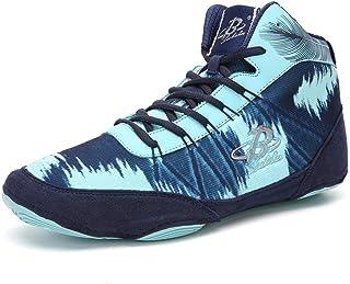 Willsky Botas De Boxeo, Zapatos De Entrenamiento De Lucha Combate Unisex Adultos Profesión Juvenil De Artes Marciales Calzado Ligero Y Transpirable,Azul,37