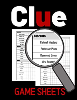 Clue Game Sheets: Score Score Sheet For Tracking Your Favorite Detective Game, Clue Score Sheet, Clue Score Card