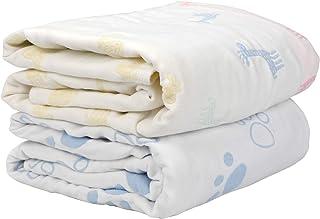 バスタオル ベビー新生児 6重ガーゼ ベビーバスタオルト 綿100% 保育園 ベビー タオルケット 赤ちゃん 出産祝い 瞬間乾き 敏感肌適合 多用 (2枚組,110*110cm)