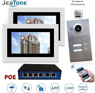 IP Video Door Phone Intercom System 7 inch Wired WiFi/ 2 Indoor Monitor Touch Screen HD 720P Outdoor Doorbell Camera + POE Function