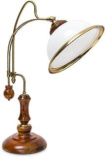 Relaxdays 10018992 Lampe de Table Verre Bois Verni Abat-Jour inclinable Moderne Design Bureau, Blanc, Or