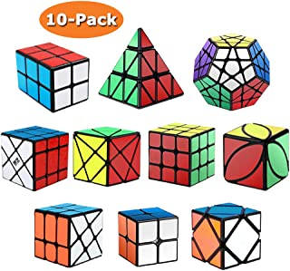 Roxenda Speed Cubes, [10 Pack] Speed Cube Set - 2x2x2 3x3x3 2x2x3 Skew Axis Windmill Fisher Megaminx Pyramid Ivy Cube Smooth Magic Cubes Puzzles Collection