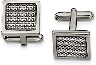 Stainless Steel Polished with Grey Carbon Fiber Inlay Cufflinks