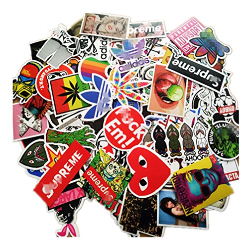 NIANPU 100 Pieces Waterproof Vinyl Stickers for Personalize Laptop, Car, Helmet, Skateboard, Luggage Graffiti Decals (D - Section)