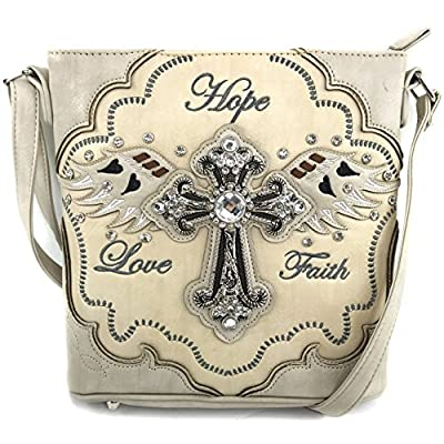 Justin West Cross Angel Wings Love Faith Hope Embroidery CCW Concealed Carry Shoulder Purse Messenger (Beige Messenger Only)