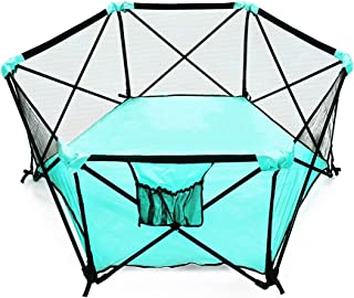 My Little Beetle, Portable & Foldable Playpen for Infants and Babies | for Outdoor Or Indoor Use | Light & Open Playard | with Hexagon Shape | Color Aqua and Black.