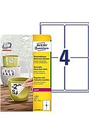 Avery Zweckform L4761REV Lot de 10 ou 20/feuilles d/étiquettes /à classeur amovibles au format A4 soit 40 ou 80 /étiquettes blanc 61/x 192/mm 40 /étiquettes 10 Blatt