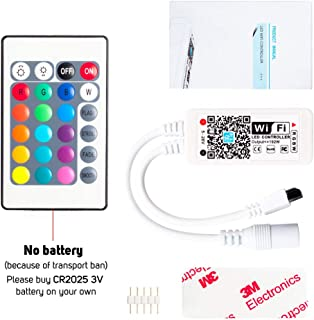 BTF-LIGHTING Wireless Music LED Smart Controller Working with Android and iOS System Mobile Phone Free App for RGBW/RGB LED Light Strips 5050 3528 LEDs Comes with One 24 Keys Remote Control