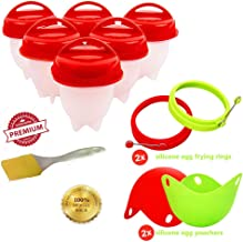 Egg Cooker Set Deluxe - Egg Boiler and Poacher - Bonus Silicone Fried Eggie Mold Rings - Super Easy Breakfast Cooking Set for Hard Boiled Egg Lovers - Non BPA, Non-stick, FDA Approved
