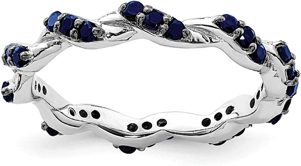 Solid sold out 925 Sterling Ranking TOP14 Silver Created September Blue Gemsto Sapphire
