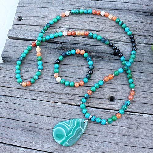 HMANE 8mm Piedra Cuentas teñidas Azurite Naranja ónix japamala Establece joyería Espiritual meditación Perlas inspiradora Collar 108 Mala Cuentas