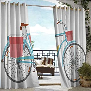 Andrea Sam Patio Curtains Bicycle,Classic Touring Bike with Derailleur and Saddlebags Healthy Active Lifestyle Travel,Multicolor,W84 xL84 Thermal Insulated Water Repellent Drape for Balcony