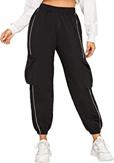 SheIn Women's Casual Elastic High Waist Workout Crop Cargo Pants with Pocket