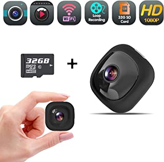 Mini Spy Hidden Camera, Wireless WiFi Full HD 1080P Nanny Cam, Security Camera Recorder with Audio, Wearable Action Cam with Clips Mount for Home and Office (32GB SD Card Included)
