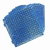 12 Pack Modular Interlocking Cushion 11.5' x 11.5' Mat Floor Tile Mats Drain Pool Patio Balcony Yard Pet Area Washer Pad(Blue)