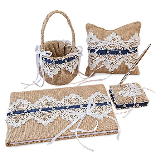 4Pcs/Set Vintage Retro Lace Wedding Flower Girl Basket & Ring Pillow & Guest Book & Pen Set for Wedding Decoration Supplies by Eamall