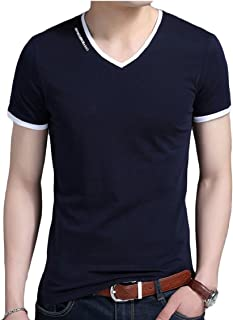 Maweisong Men V-Neck Casual Short Sleeve Contrast Cotton Tee Shirts T-Shirts