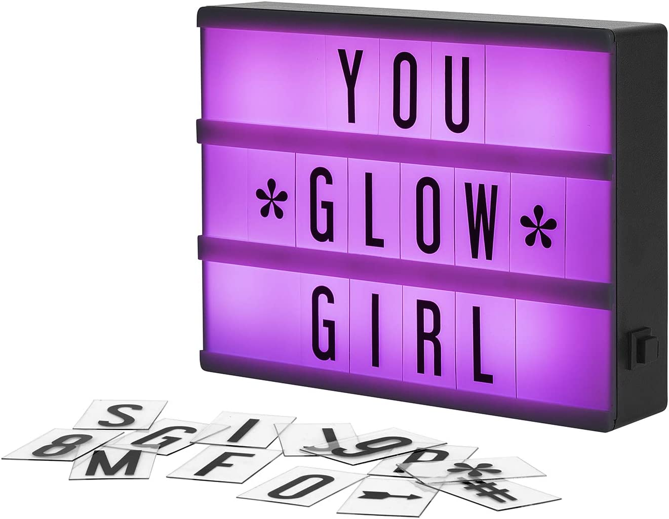 Buy My Cinema Lightbox - The Mini Color-Changing LED Marquee with 100  Letters & Numbers to Create Your Own Sign with Classic White, RGB Color  Change, and Freeze Mode, with Letter Storage