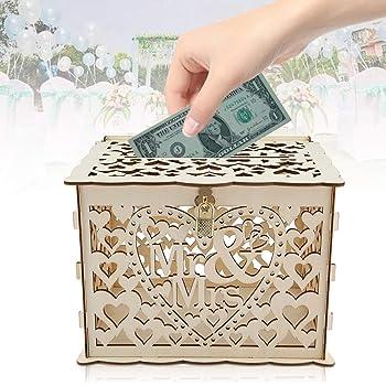 Caja de tarjetas con llaves Bricolaje regalo de dinero Caja rústica hueca para boda de fiesta de cumpleaños: Amazon.es: Hogar