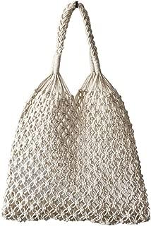 Hixixi Cotton Rope Travel Beach Fishing Net Handbag Shopping Woven Shoulder Bag for Women Girls