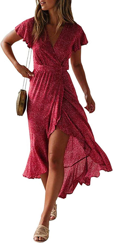 StyleDome Women Floral Maxi Dress Summer V Neck Wrap Dress Side Split Casual Beach Party Flowy Long Dresses