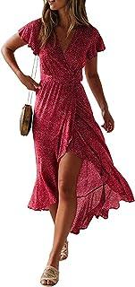 Style Dome Vestido Mujer Largo Verano Playa Manga Corta Floral Cuello en V Causal Fiesta Maxi con Cinturón Vestidos