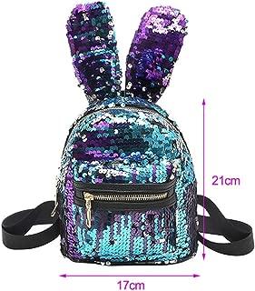 Mini Sequins Backpack Cute Rabbit Ears Shoulder Bag For Women Travel Bag S Blue Pink