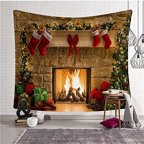 SHININGCN Tapiz Pared Decoración Día De Navidad Tapiz De Pared Árbol De Navidad Tapiz Colgante Decoración De La Habitación Calcetines Decoración del Hogar Dormitorio Decoracion