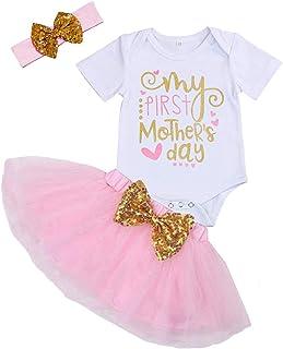 دختر بچه لباس اول مادر من لباس نوزاد دختر نامه چاپ دامن Romper Tutu با ست لباس سر بند
