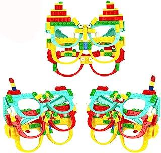Party Favor for Kids Building Block Glasses DIY Stacking Block Bricks Party Glasses Toys Party Supplies Decorations for Bi...