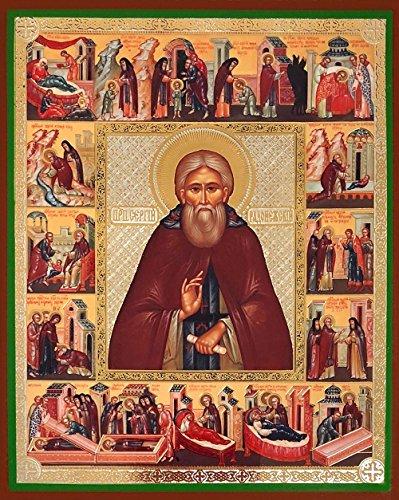 San Sergio de Radonezh con iconos de los días de fiesta ruso icono ortodoxo de 6 1/4 pulgadas