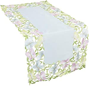 Xia Home Fashions Butterfly Minuet Embroidered Cutwork Mini Table Runner, 12 by 28-Inch