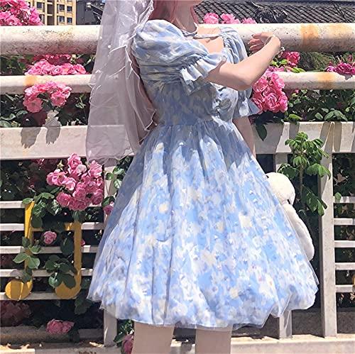 LYMZZY 2021 Nouveau Japonais Soft Girl Sweet Bubble Sleeve Student Student Mesh Jupe Princesse Jupe Femme Vêtements d'été (Color : Blue, Size : M)