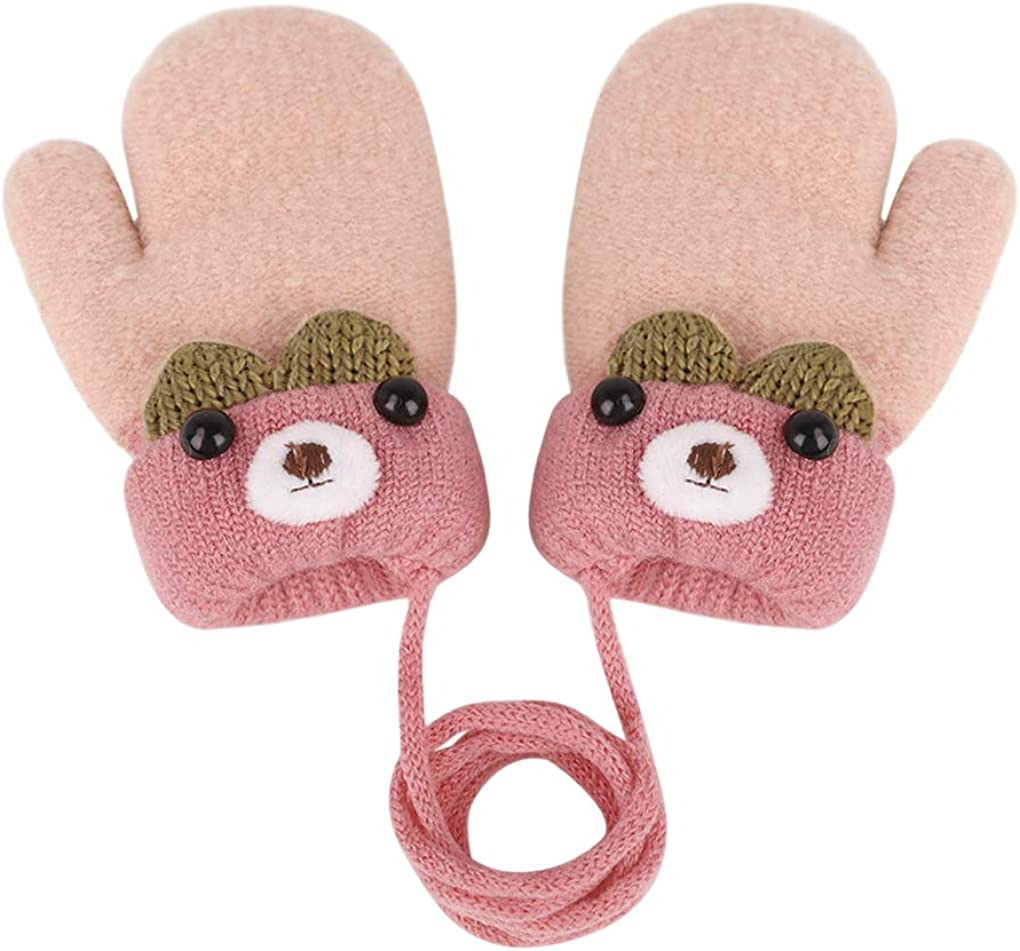 2021 autumn and winter new Toddler Kids Winter Warm Knit Mittens l with Plush At the price of surprise Fleece String
