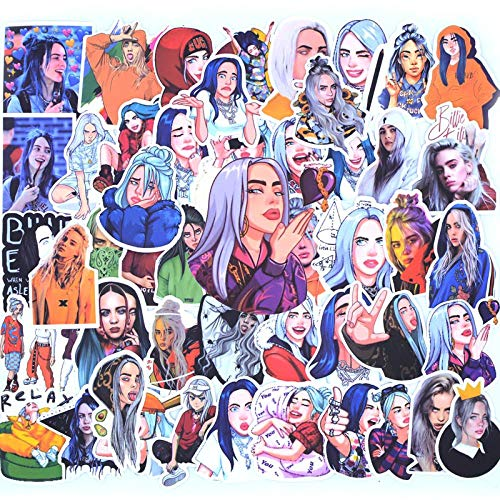 50 Pcs Pack Billie Eilish Cartoon Sticker Waterproof Suitscase DIY Laptop Guitar Skateboard Toy Lovely Stickers
