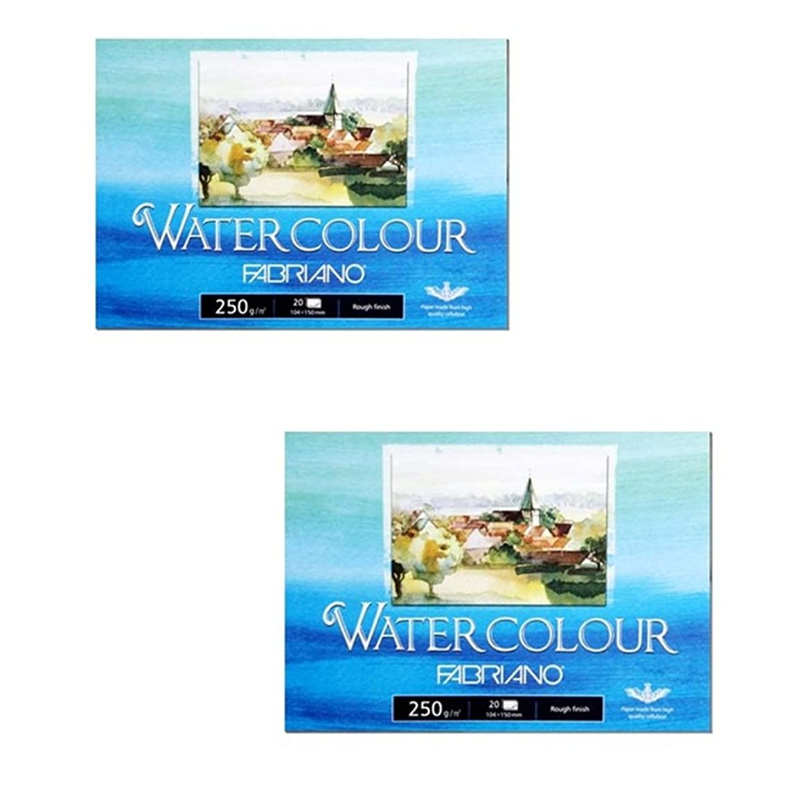 Fabriano Watercolor Paper Pads, Postcards Pad Rough Finish, 250gsm 20 SheetsX2 Pack bx442727986144