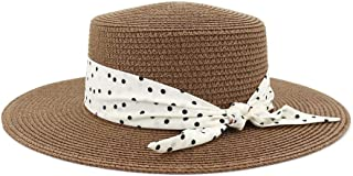 SXQ Jazz Hat 2019 Male Female UV Protective Straw Hat Outdoor Travelling Straw Hat Panama Hat with Bow Decoration Solid Color Fashionable Sunproof Sun Hat for Vocation Seaside Beach Hat Sun Hat