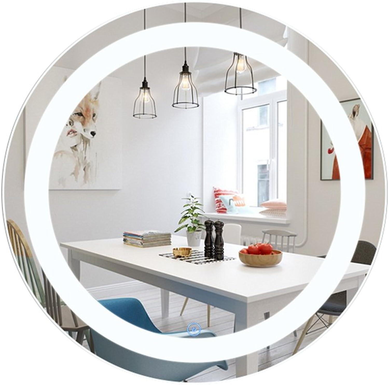 LED Wall Mount Mirror Smart Explosion-Proof Mirror Bathroom HD Vanity Mirror Round Anti-Fog Mirror (color   Silver, Size   50cm)