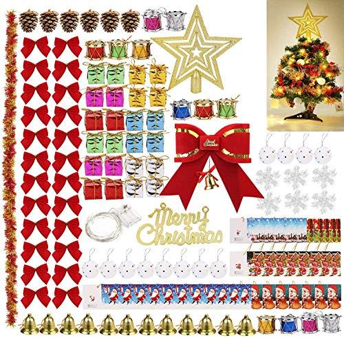 Cozywind 139PCS Bolas de Navidad Decoración del árbol de Navidad con Campanas Colgantes,Adornos,Copos de Nieve para Festivales,Navidad