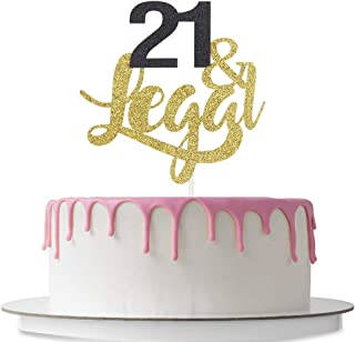 21 & Legal Cake Topper, Happy 21st Birthday, 21st Wedding Anniversary Party Decoration Supplies, Cheers to 21, Double Color Gold and Black Glitter