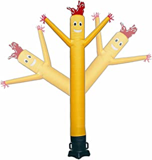 Mkevi 20ft Sky Air Puppet Dancer Inflatable Arm Flailing Tube Man Wacky Wavy Wind Flying Dancing Man for DIY Stand Out Advertising No 18in Blower (Yellow)